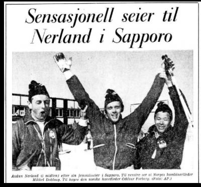 """Faksimile Aftenposten 12.2.1971 - """"Sensasjonell seier til Nerland i Sapporo"""""""