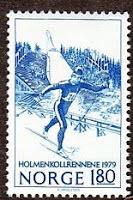 Magne Myrmo avbildet på frimerke i forbindelse med Holmenkollrennets 100-årsjubileum i 1979.
