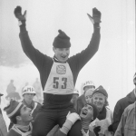 Bjørn Wirkola etter seieren i stor bakke under VM i Oslo 1966.