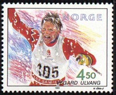 Frimerke av OL-vinner Vegard Ulvang, utgitt av Posten i 1993.