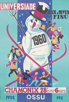 Den offisielle plakaten for den første Vinteruniversiaden i Chamonix 1960.