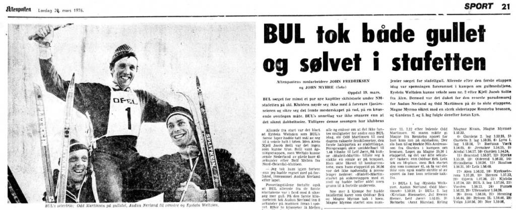 Faksimile Aftenposten 20.3.1976 - BUL avsluttet sin seiersrekke med dobbeltseier i 1976.