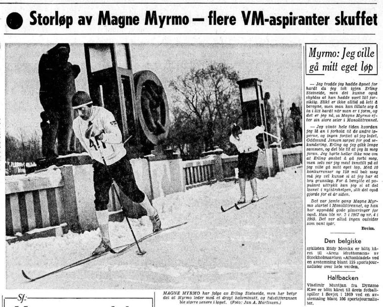 Faksimile Aftenposten 5.1.1970 - Magne Myrmo er på broen i Vigelandsparken, på vei mot sin første seier i Monolittrennet. Bak følger Erling Steineide, som startet halvminuttet foran Myrmo, og som bare hadde Myrmo foran seg på resultatlisten.