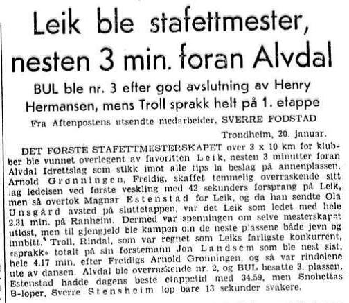 Faksimile Aftenposten 1.2.1954