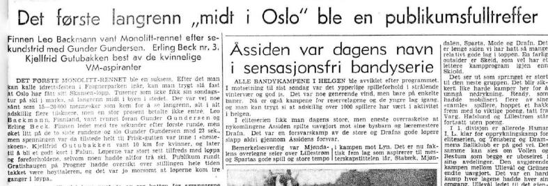 Faksimile Aftenposten 11.1.1954 - fra det aller første Monolittrennet.