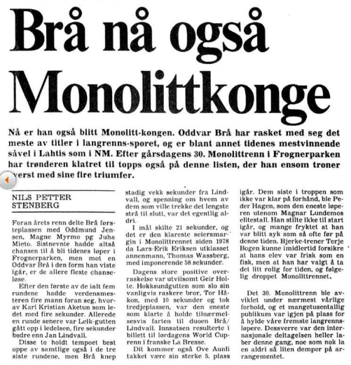 Faksimile Aftenposten 3.1.1983 etter at Oddvar Brå har vunnet sin fjerde seier i Monolittrennet.
