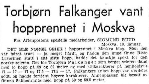 Faksimile Aftenposten 11.1.1954 - norsk seier i hopprennet i Moskva