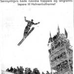 Faksimile Aftenposten 16.1.1954 -Torbjørn Falkanger i et av sine hopp i Moskva.