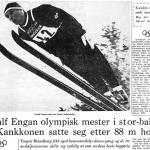 Faksimile Stavanger Aftenblad 10.02.1964. Toralf Engan olympisk mester i stor-bakken