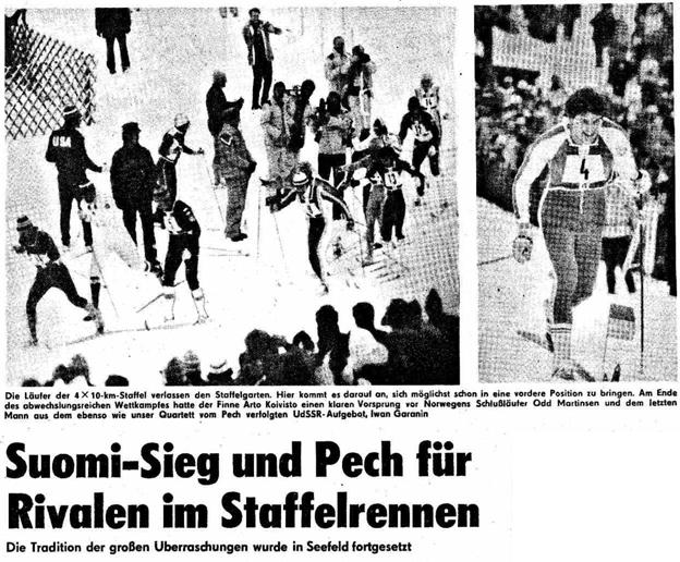 """Faksimile Neues Deutschland 12.2.1976 - """"Seier til Finland og uhell for konkurrentene i stafettrennet"""""""