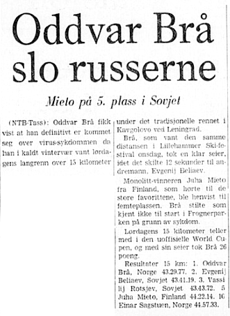 Faksimile Stavanger Aftenblad 13.1.1975 - Oddvar Brå slo alle russerne i Leningrad.
