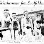 Faksimile Aftenposten 1.3.1960 – Det norske laget som vant det militære patruljeløpet under det militære ski-VM i Saalfelden i 1960. Lederen av patruljen, løytnant Martin Stokken, er lengst til venstre i bildet.