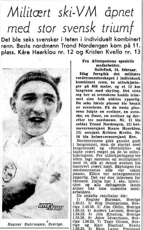 Faksimile Aftenposten 25.2.1954 – svenske løpere besatte de syv første plassene i det individuelle løpet under det første militære ski-VM.