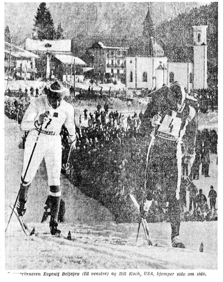 Faksimile Aftenposten 9.2.1976 – Beljajev er på vei mot sin sølv på 15 km under OL i Innsbruck. Her ser vi ham side om side med amerikaren Bill Koch, ikke lenge før mål. Selv om Koch var innhentet med halvannet minutt av Beljajev gikk han likevel inn til 6. plass på distansen.