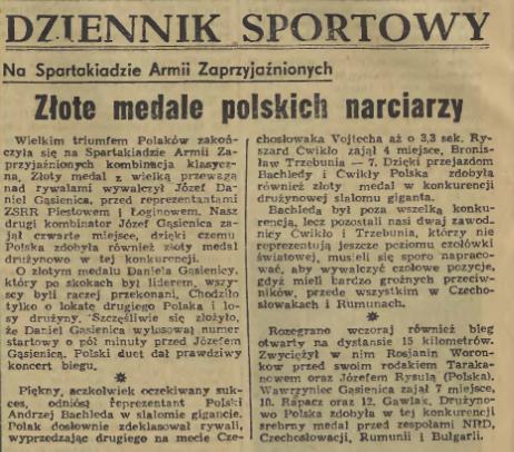 Faksimile fra den polske avisen Dziennik Polski 7.2.1969 – Det ble polsk gull både i kombinert ved Józef Gąsienica Daniel og storslalåm ved Andrzej Bachleda. Bachleda tok i alt 7 spartakiade-gull.