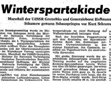 Faksimile Neues Deutschland 6.2.1961 – den første vinterspartakiaden er åpnet.