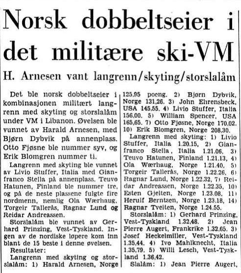 Faksmile Aftenposten 1.3.1967 – norsk dobbeltseier i kombinasjonen militært langrenn med skyting og storslalåm (triathlon) – Harald Arnesen vant foran Bjørn Dybvik.