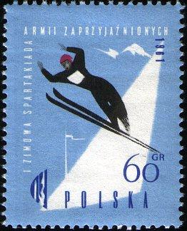 Frimerke utgitt av Polen til den første vinter-spartakiaden for vennlige hærer i Zakopane i 1961.