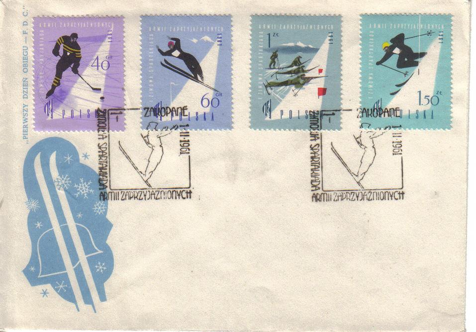 Polen gav ut en serie på fire frimerker i forbindelse med den første vinter-spartakiaden for de vennlige sosialistiske hærer i Zakopane i 1961.