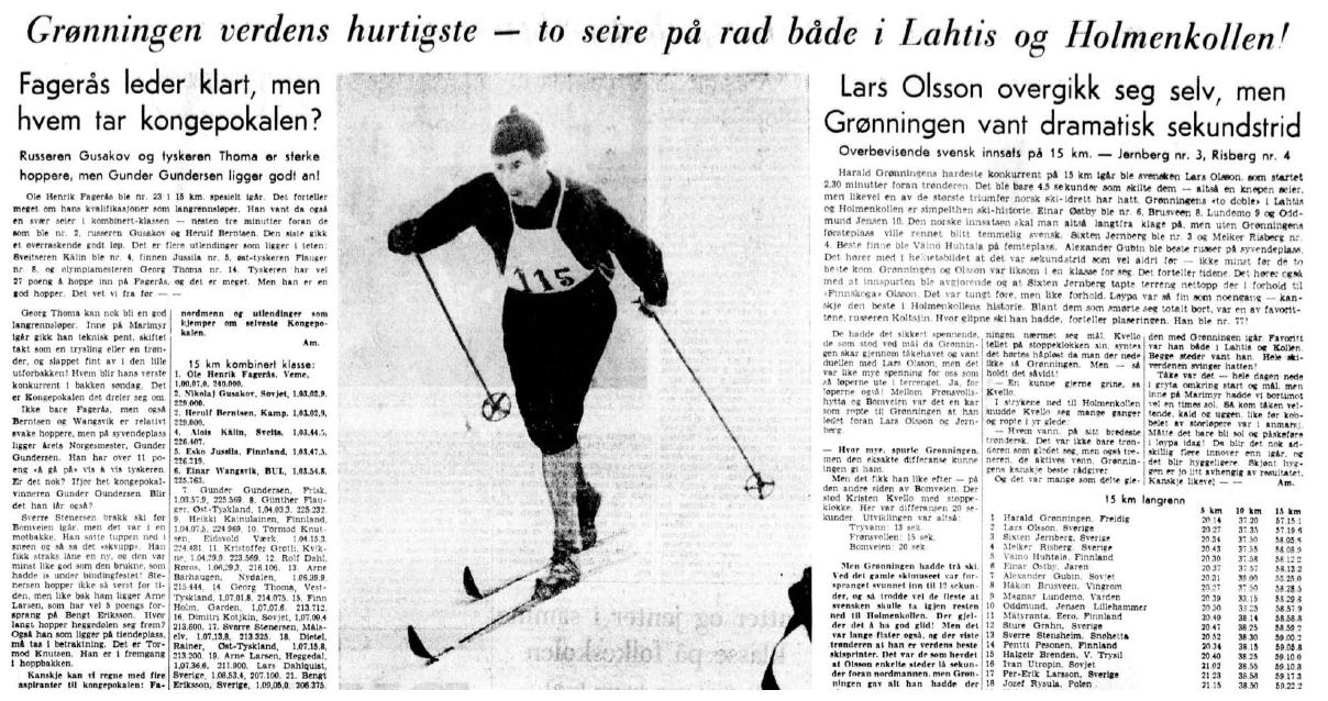 Faksimile Aftenposten 11. mars 1961 – Grønningen hylles etter å ha vunnet 15 km både i Lahti og Holmenkollen to år på rad.