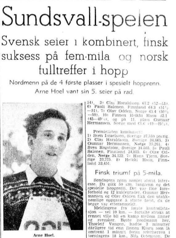 Faksimile Aftenposten 17.3.1947 - Norsk seier i hopprennet i Sundsvallspelen.
