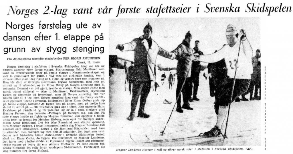 Faksimile Aftenposten 14.3.1966 – Norges 2. lag sikret Norges første stafettseier i Svenska Skidspelen.