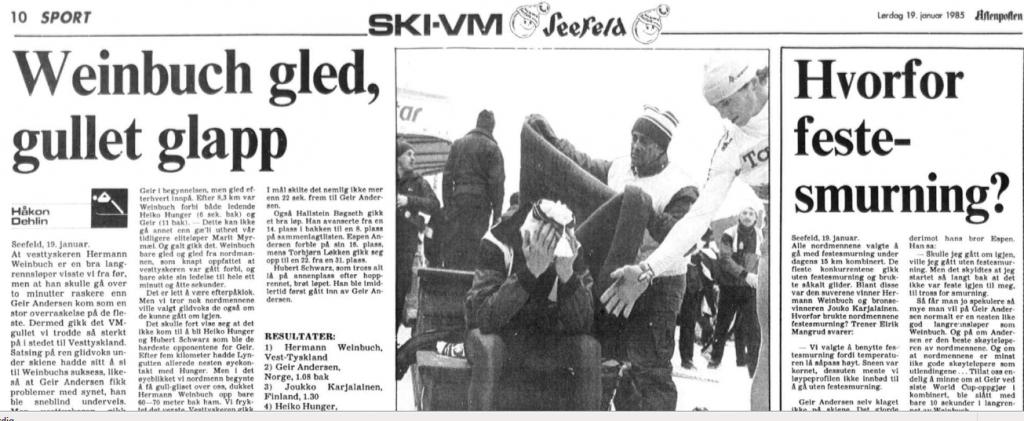 Faksimile Aftenposten Aften 19.2.1985 – Geir Andersen tapte kanskje gullmedaljen fordi han gikk med festesmurning.
