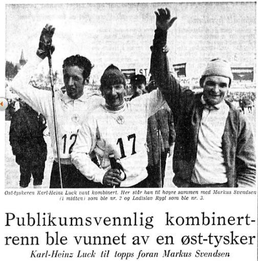 Faksimile Stavanger Aftenblad 16.3.1970 – En smilende Karl-Heinz Luck hylles som vinner etter å ha gått først i mål og vunnet kombinertrennet i Holmenkollen.