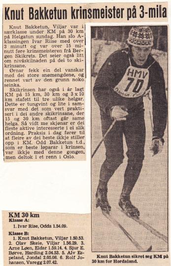 Faksimile fra lokalavisa sitt oppslag da Knut Bakketun sikret seg KM på 30 km for Hordaland, i broren Odd sitt fravær.