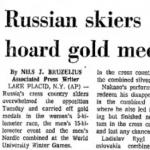 Faksimile The Oneonta Star (Oneonta, NY) 1.3.1972 – The World University Winter Games i Lake Placid fikk bred omtale i amerikanske aviser, og den sovjetrussiske dominansen fikk ofte fokus i overskriften. Sovjet tok gull i 14 av 29 øvelser, deriblant 7 av 8 øvelser i de nordiske skidisipliner.