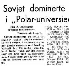 Faksimile Aftenposten Aften 6.4.1970. Aftenposten fokuserer på Sovjets dominans og at Norges deltagere stort sett gjorde det svakere enn ventet. Sovjet vant 13 av 24 øvelser i Rovaniemi, inkludert 5 av 6 øvelser i de nordiske skidisipliner.