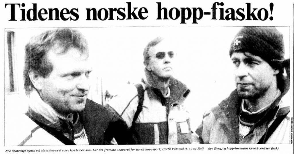Faksimile Aftenposten 10.2.1992 – Aftenposten karakteriserer den norske innsatsen i normalbakken under OL i Albertville som «Tidenes norske hopp-fiasko!»