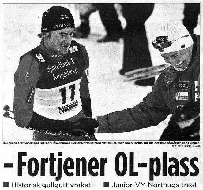 Faksimile Aftenposten 22.1.2006 – Aftenposten siterer Petter Northugs treningskamerater, som mener unggutten hadde fortjent en OL-plass etter NM-seieren.