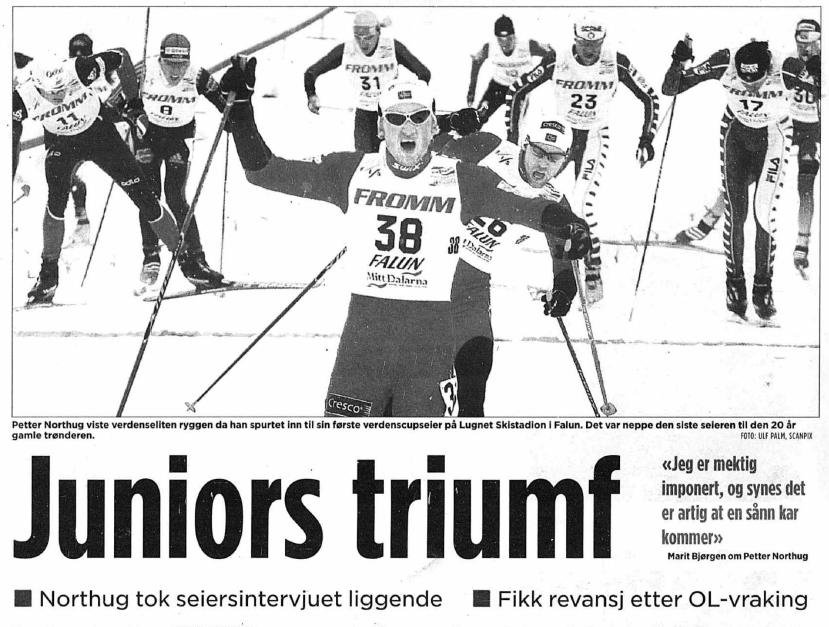 Faksimile Aftenposten 9.3.2006: «Juniors triumf – fikk revansje etter OL-vraking»