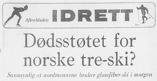 Faksimile Stavanger Aftenblad 18.2.1974. Aftenbladets utsendte medarbeider, den kjente fotballdommer og journalist Svein-Inge Thime, hadde snakket med tidligere rikstrener Kristen Kvello, som spådde at dette var dødsstøtet for norske tre-ski.