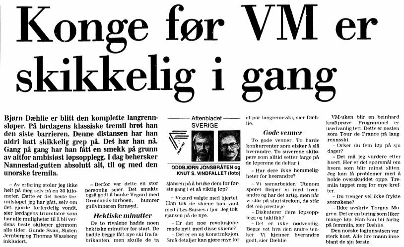 Faksimile Stavanger Aftenblad 22.2.1993 – Aftenbladets utsendte beskriver Bjørn Dæhlie som den komplette langrennsløper etter at han brøt den siste barrieren og vant den klassiske tremila i VM – en distanse han tidligere aldri hadde hatt skikkelig grep på.