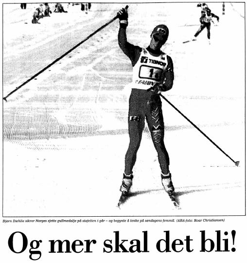 Faksimile Stavanger Aftenblad 27.2.1993. Etter at Norge hadde vunnet sin tredje mesterskapsstafett på rad skrev SA på forsiden «Og mer skal det bli!». Allerede under OL på Lillehammer året etter ble det tre nye gull til de norske langrennsguttene. Og rekken av stafettseiere i VM stoppet ikke før i 1999.