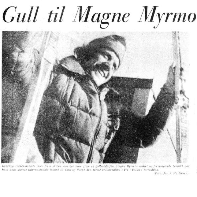 Faksimile Aftenposten Aften 19.2.1974 - Magne Myrmo har vunnet VM-gull på treski
