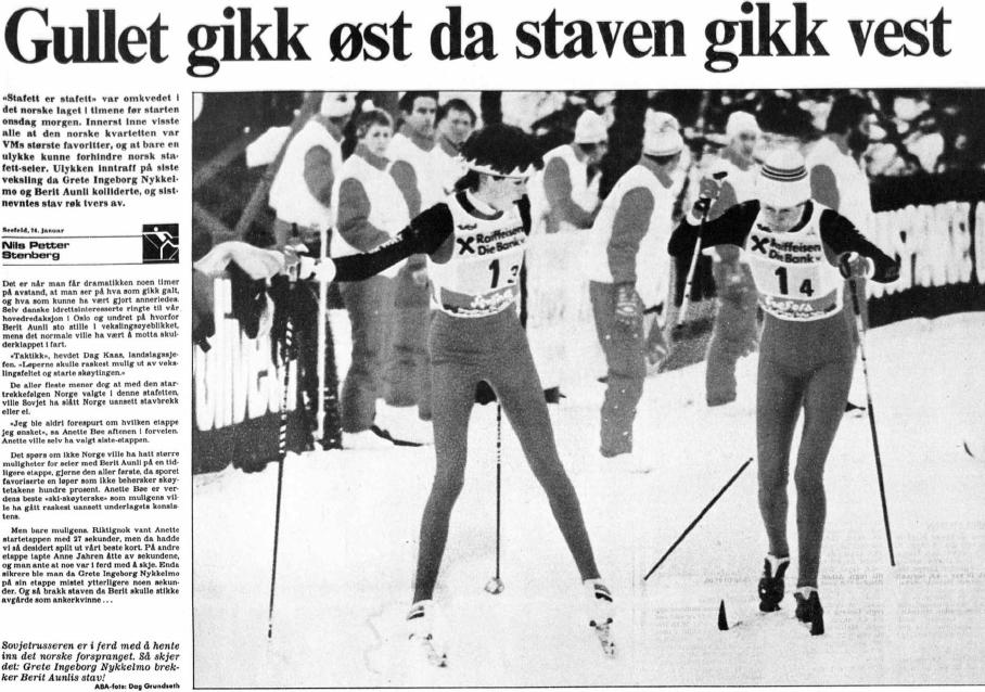 Faksimlie Aftenposten 24.1.1985 – Aftenposten konkluderer også med at det ikke nødvendigvis var det ulykksalige stavbrekket som kostet Norge VM-gullet på kvinnestafetten.