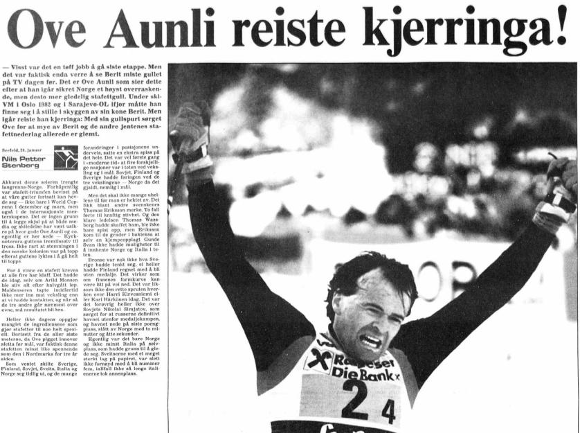 Faksimlie Aftenposten 25.1.1985 – Ordspillet om å «reise kjerringa» satt løst etter at Ove Aunli revansjerte kona Berit og sørget for norsk gull på herrestafetten under VM i Seefeld.