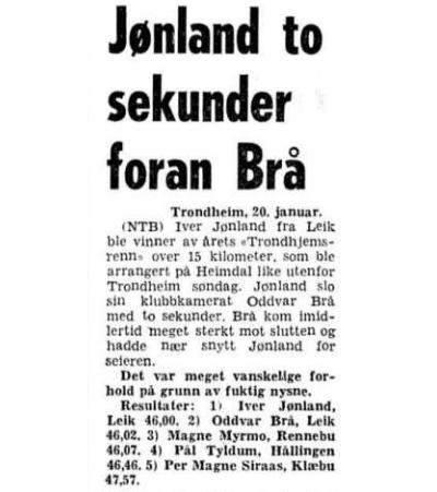 Faksimile Aftenposten 21.1.1974, etter at Jønland slo Oddvar Brå, Magne Myrmo og Pål Tyldum i Trondhjemsrennet.