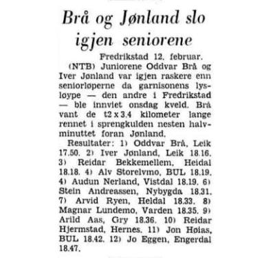 Faksimile Aftenposten Aften 12.2.1970 – juniorene Brå og Jønland har imponert nok en gang med å slå seniorløperne, blant dem flere etablert navn.