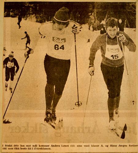 Avisklipp fra Uglarennet 1972 Bildet viser Anders Lenes som vant A-klassen.