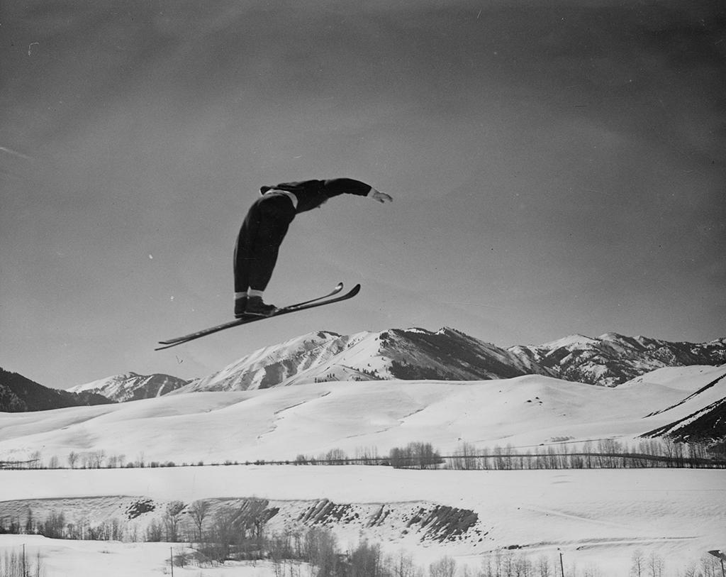 Gustav Raaum i svevet. Sun Valley, Idaho, 1948
