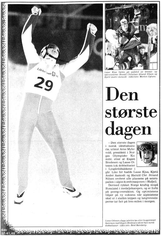 "Faksimile Stavanger Aftenblad 26.2.1994. Overskriften er ""Den største dagen"""