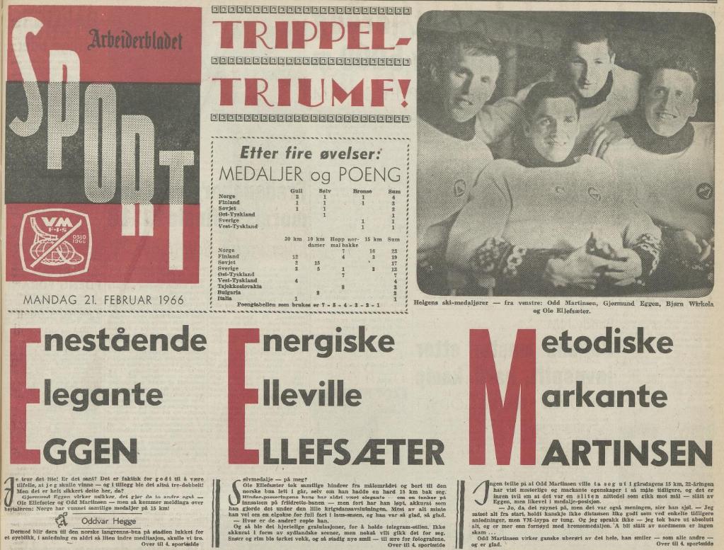 Faksimile Arbeiderbladet 21.2.1966 - oppslag knyttet til den norske trippelseieren på 15 km under VM i 1966.