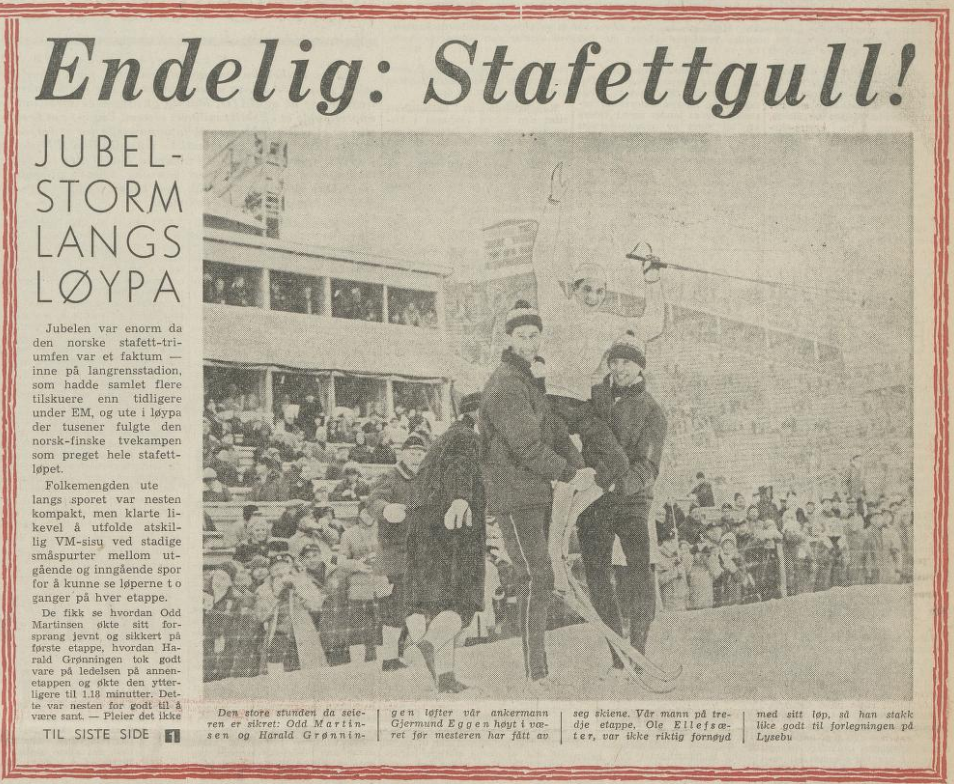 """Faksimile Arbeiderbladet 24.2.1966 - oppslag knyttet til det norske stafettgullet i VM, med overskriften """"Endelig: Stafettgull!"""""""