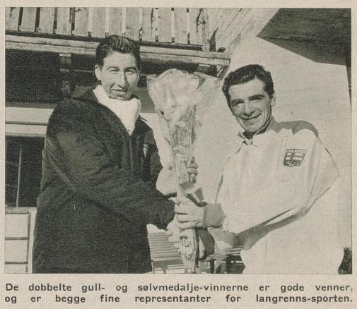 Faksimile Aktuell nr 6/1964. Klippet viser Harald Grønningen og Eero Mäntyranta.