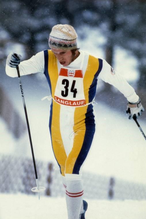 Bilde av den svenske langrennsløperen Benny Södergren under OL-femmila i 1976.