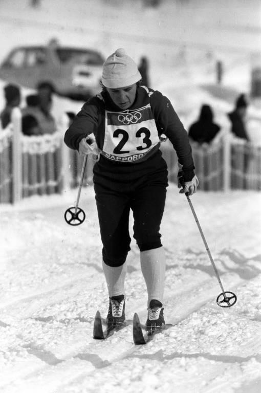 Bilde av langrennsløperen Ljubov Mukhatsjova på 10 km under OL i Sapporo i 1972.